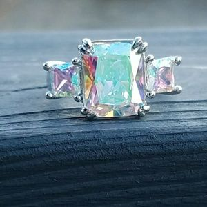 Jewelry - aurora borealis sterling plated ring, rainbow ring